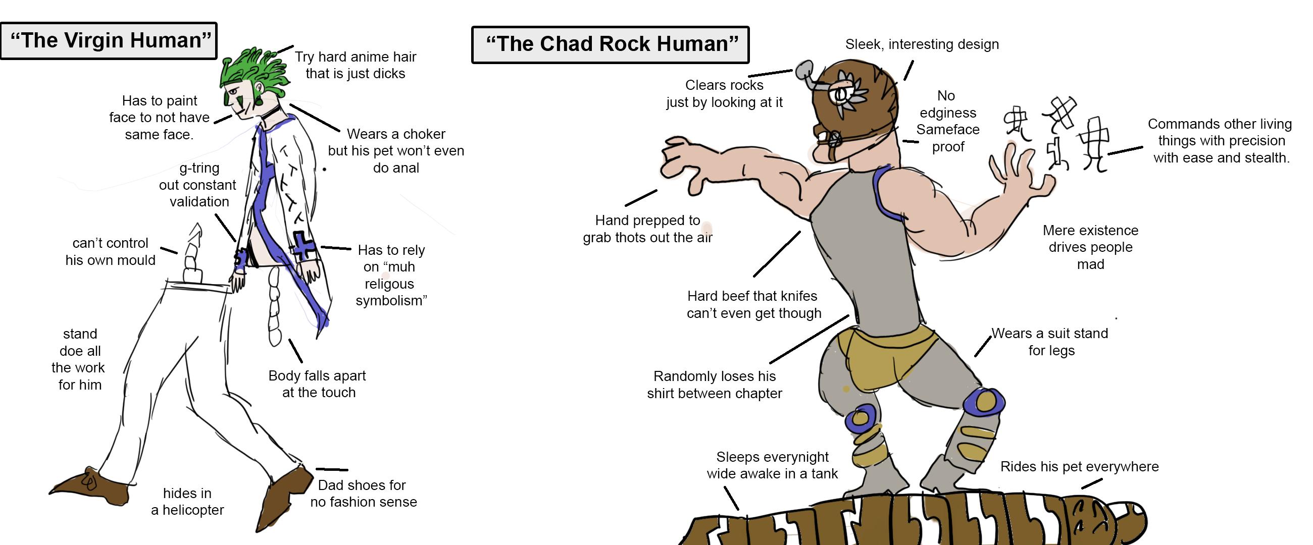 Chad Rock Human Jojo S Bizarre Adventure Jojo S Bizarre Adventure Jojo Bizarre Jojo Memes