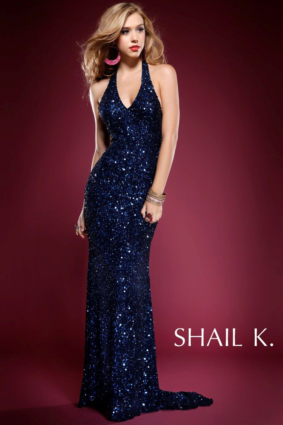 Shail K SK3192L - Navy Fitted Sequin Prom Dress - RissyRoos.com ...