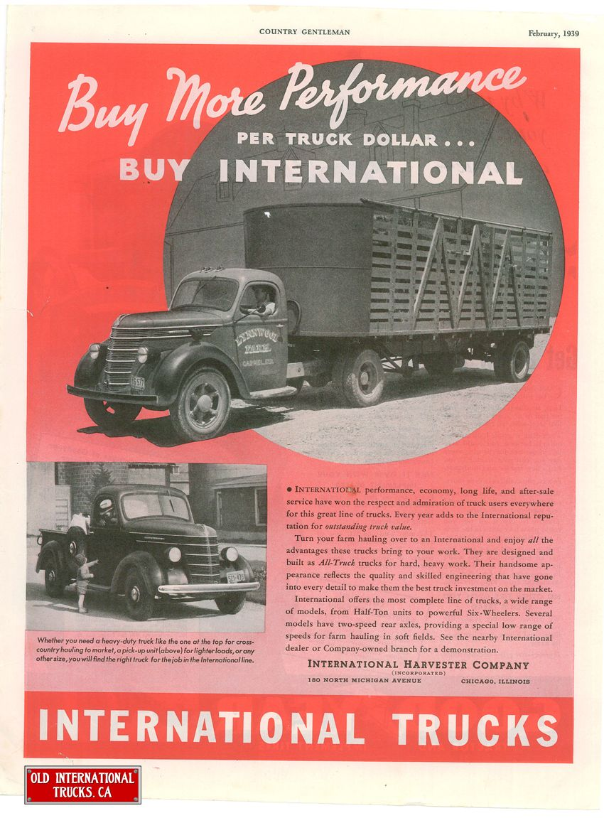 1939 International D 2 And D 40 Models Old Advertisements
