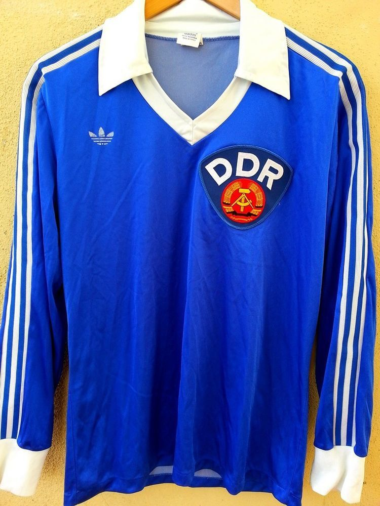 af3432058be DDR EAST GERMANY 1980s L S Home Football Shirt (M) Soccer Jersey Adidas