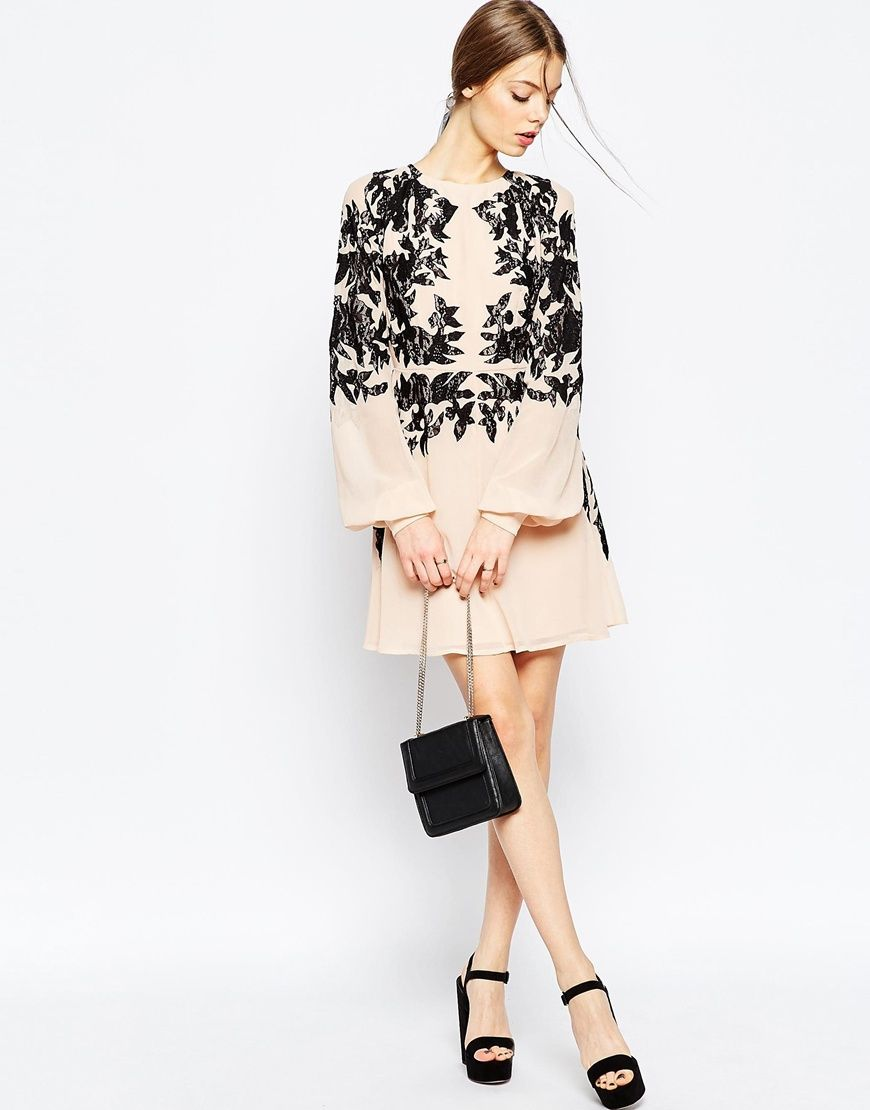 Asos wedding guest dresses with sleeves  Image  of ASOS Lace Placed Embroidered Mini Dress  Glam u Ladylike