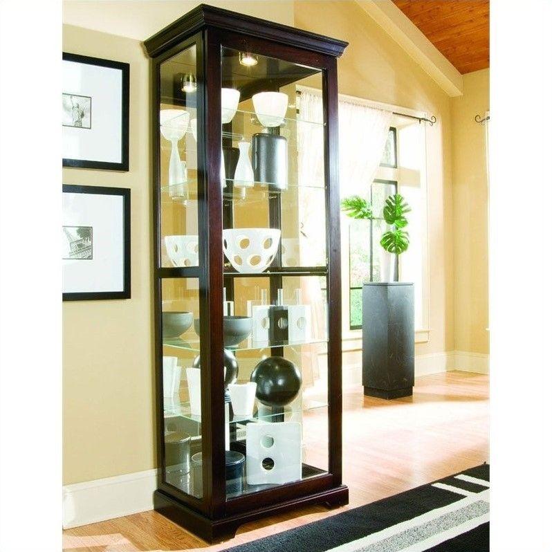 Pulaski Chocolate Cherry Ii 30 Inch Wide Curio Cabinet Glass