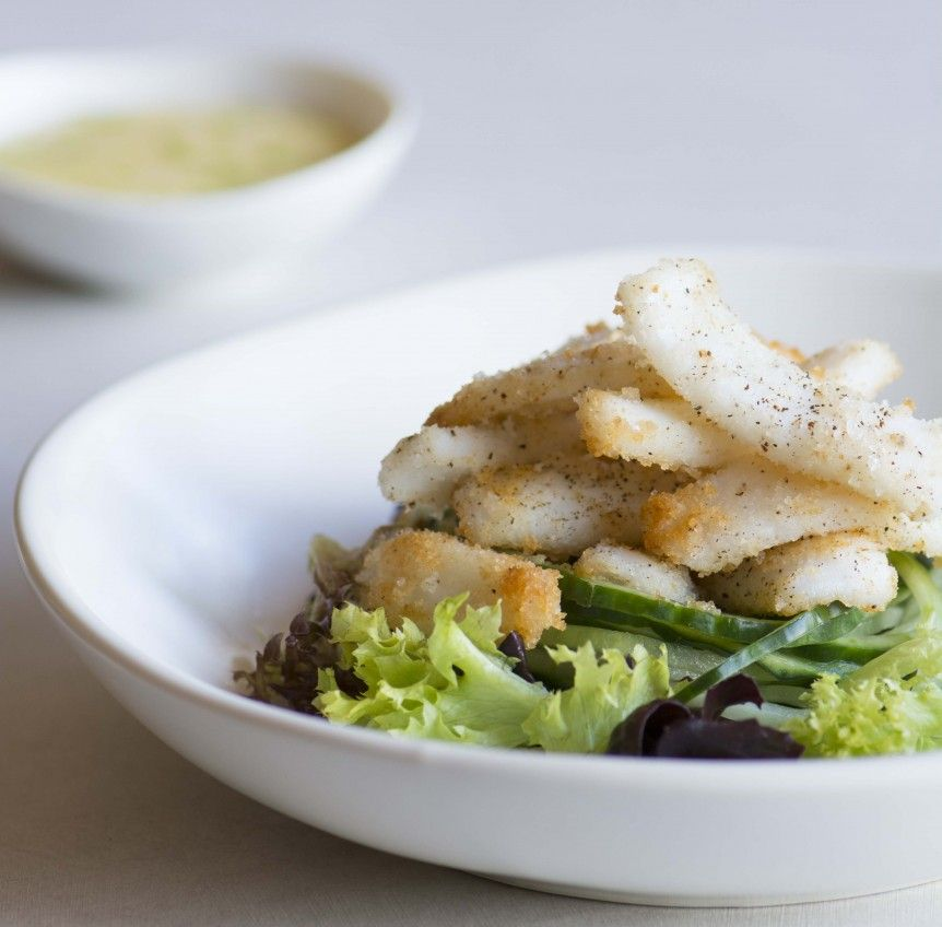 Salt and pepper calamari is such a popular restaurant dish and now you can enjoy it at home whilst complying with your SIBO program.  Dairy free, #SIBORecipe #SIBODiet #SIBOMealPlan