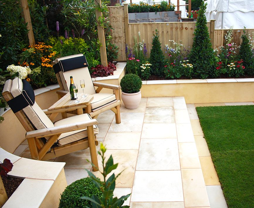 Ivory Sandstone Flagstones Modern Patio Seating Area Landscaping Garden Design Luxury