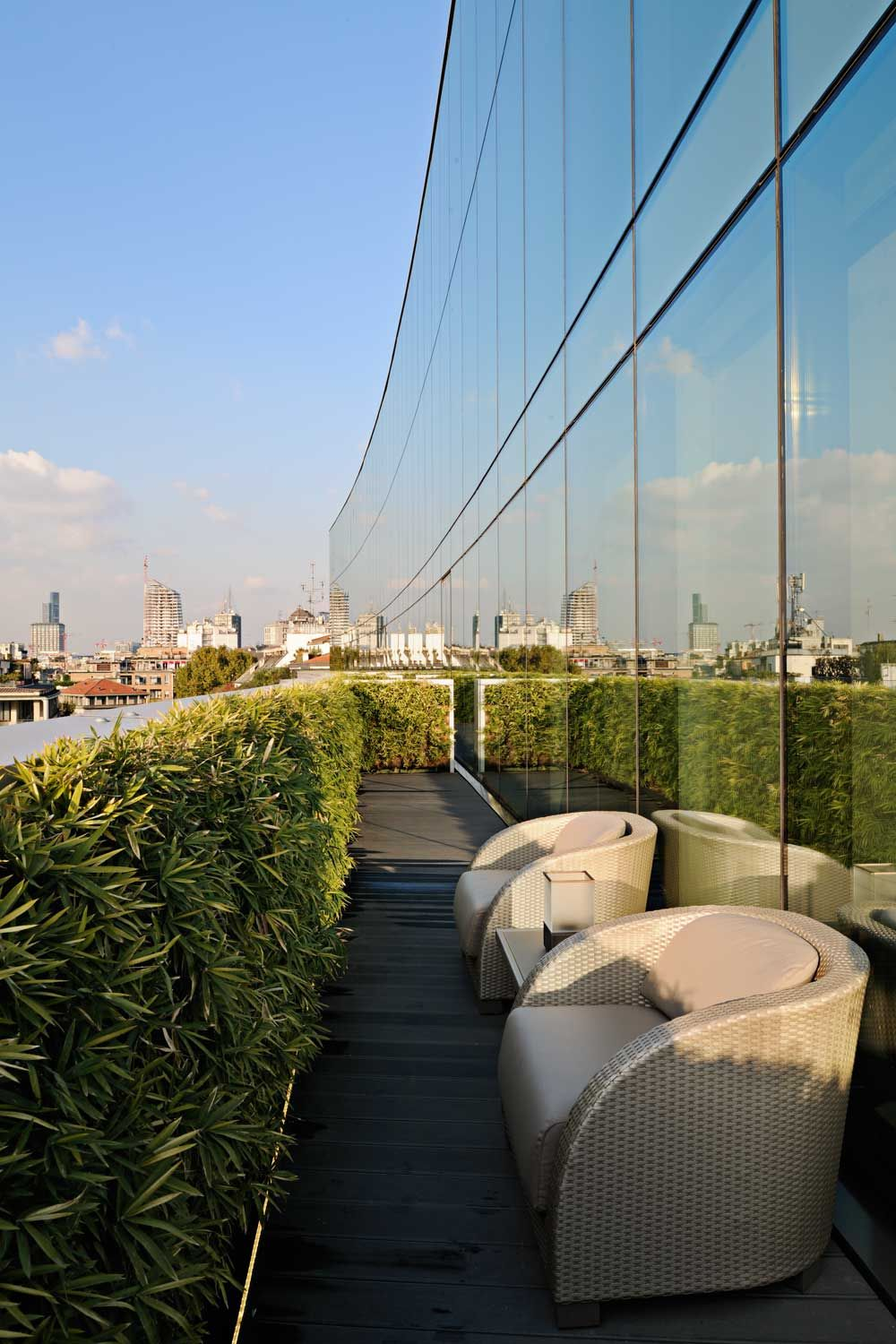 Terrace With A View Of The City At The Armani Hotel Milano In