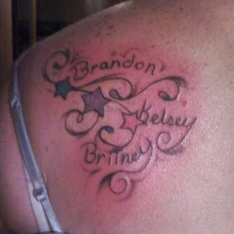 3 Kids Names Tatoo Tattoos Of Children Name Tattoos Tattoos