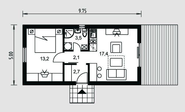 Plano de casa de 5 x 10 m planos de casas in 2019 for Diseno de apartamento de 4x8 mts