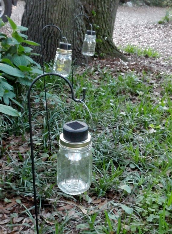 Mason Jar Solar Lanterns Centerpiece or Path Lighting Rustic Wedding Decor