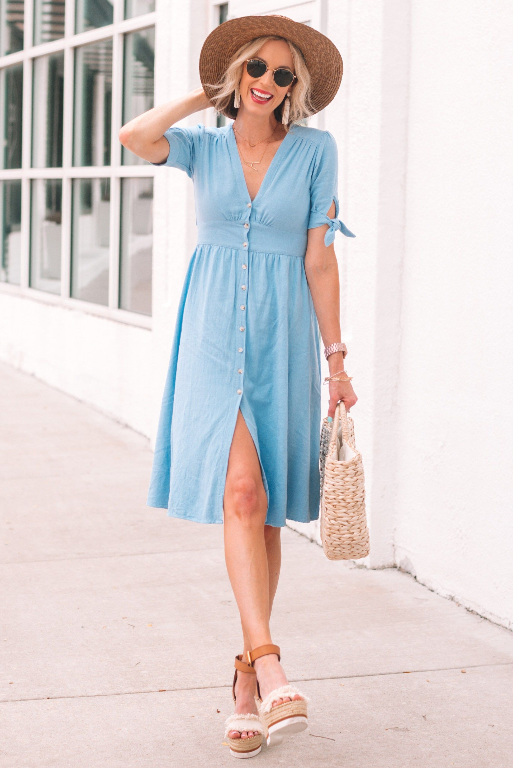 Blue Button Front Midi Dress Straight A Style Wedding Guest Dress Summer Wedding Guest Dress Women Wedding Guest Dresses [ 3236 x 2160 Pixel ]