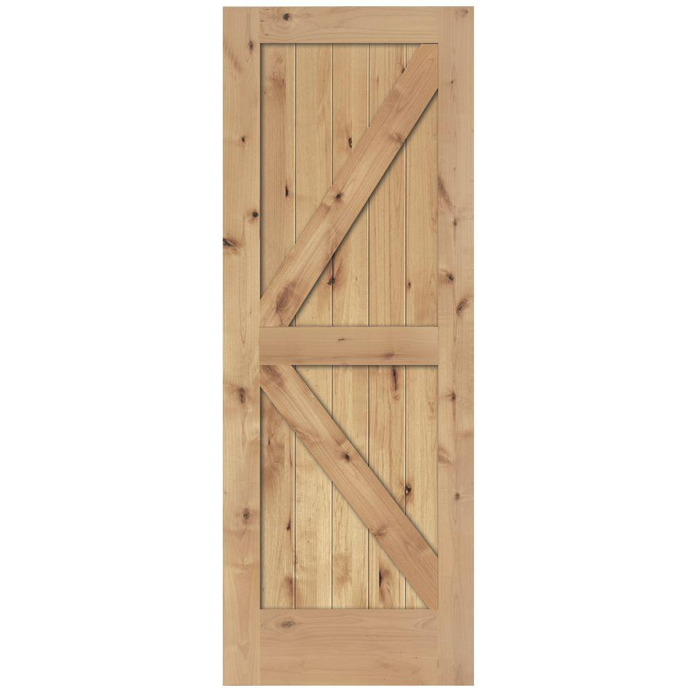 Steves Sons 24 In X 80 In 2 Panel Solid Core Unfinished Knotty Alder Interior Barn Door Slab Wood Barn Door Interior Barn Doors Sliding Door Hardware