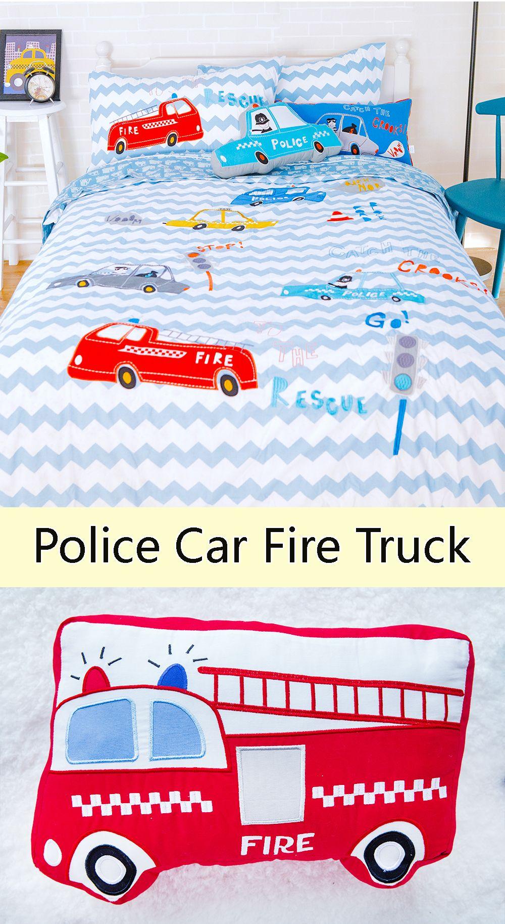 Fire Trucks And Police Cars Duvet Cover Set Kids Decor
