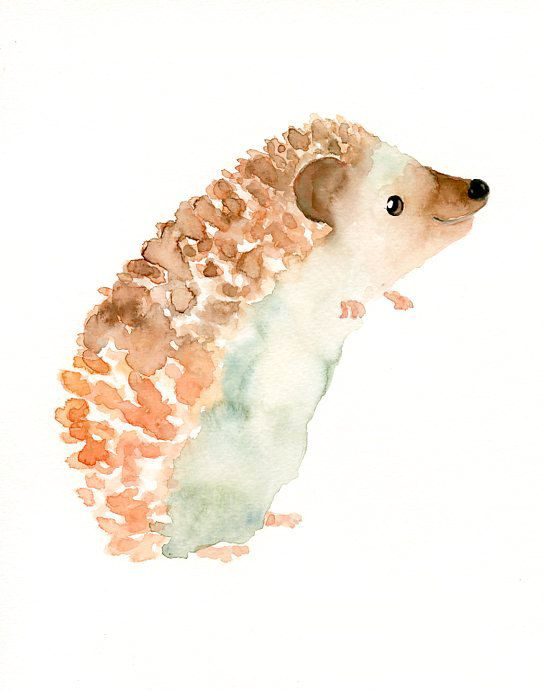 Hedgehog By Dimdi Original Watercolor Painting 8x10inch Vertical