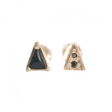 Mociun Mismatched Triangle Onyx And Black Diamond Earrings