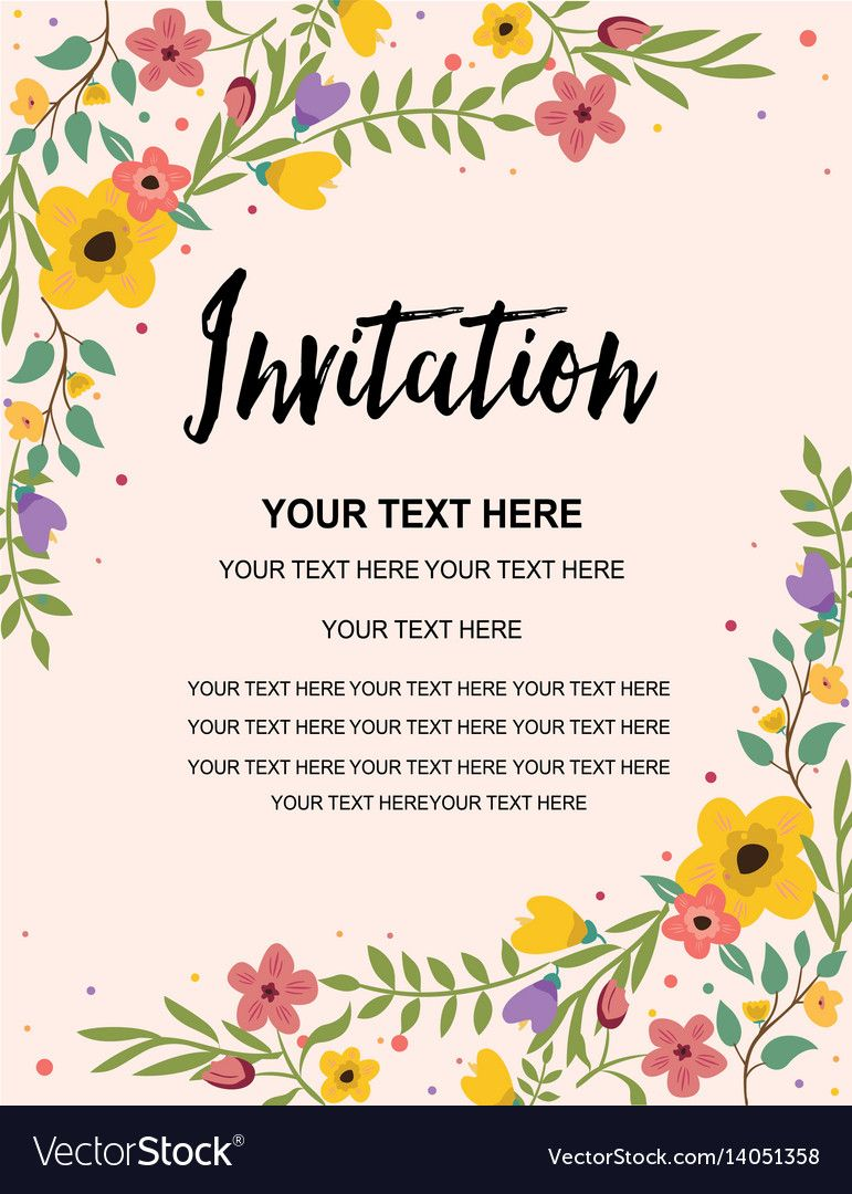 Floral Anniversary Party Invitation Card Template In Template For