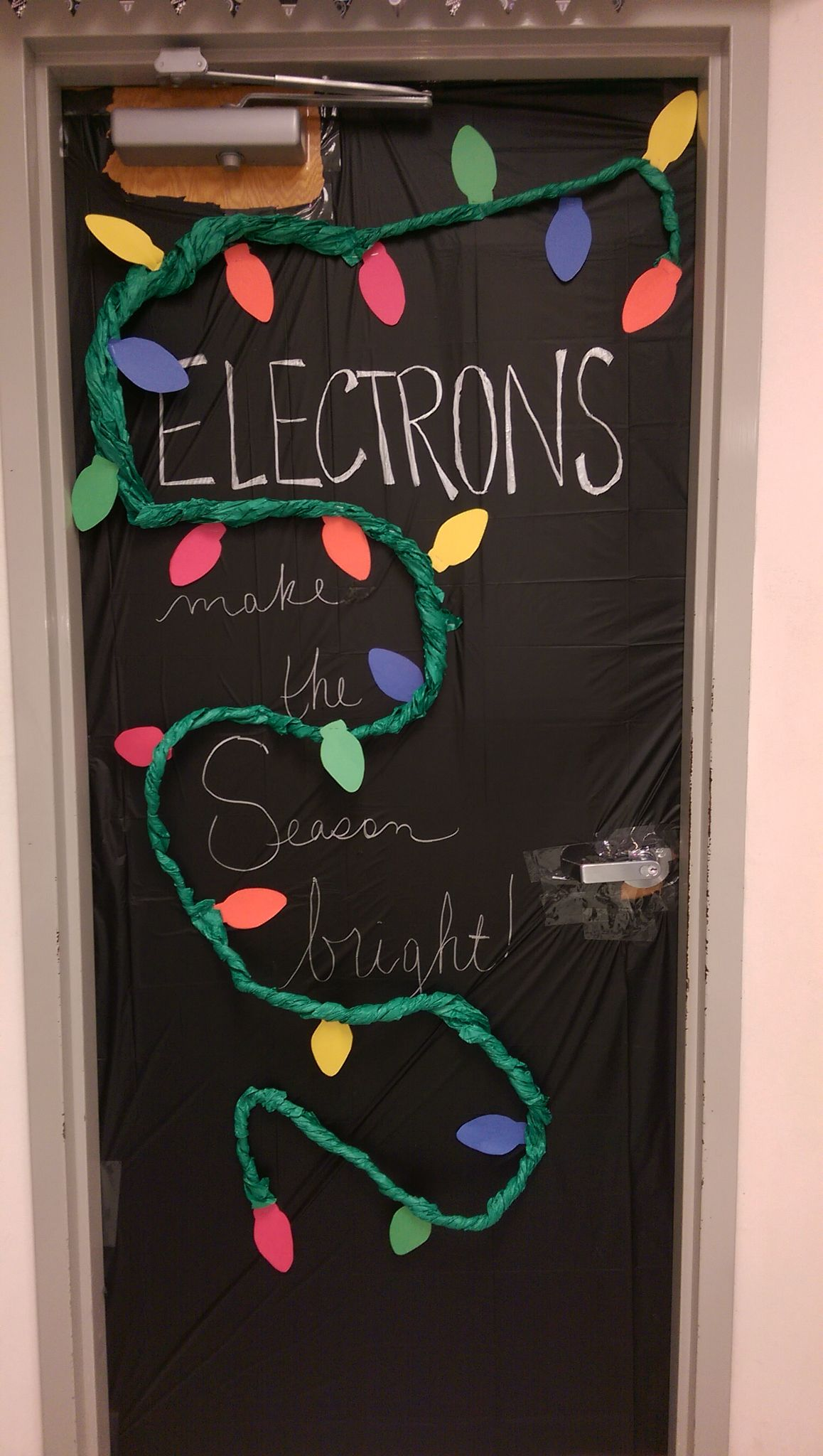 Classroom Decor Science : Christmas chemistry physics door decorating classroom
