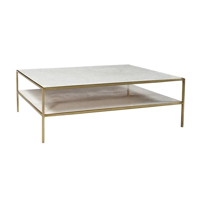 Chic Coffee Table With A White Marble Top And Bottom Shelf And A