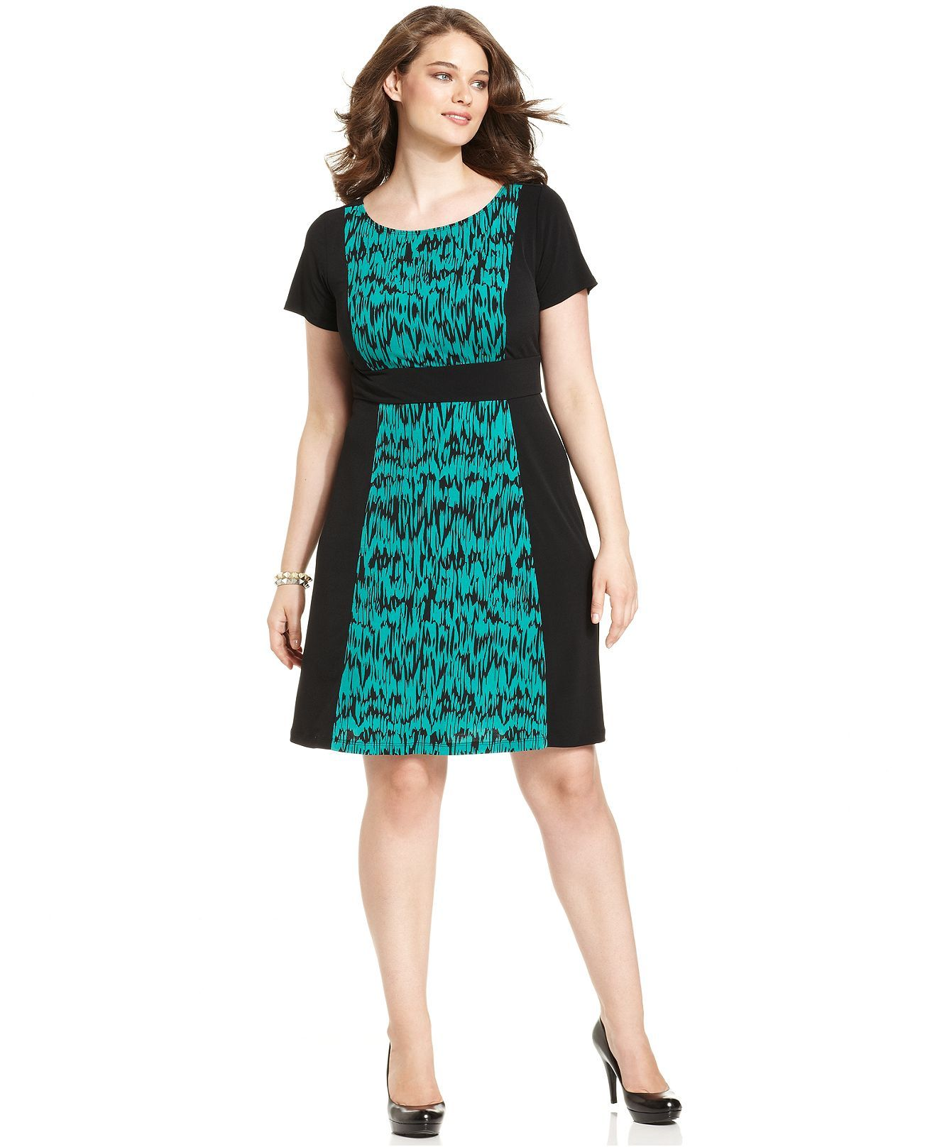 AGB Plus Size Dress, Short-Sleeve Printed Colorblocked - The A-Line ...