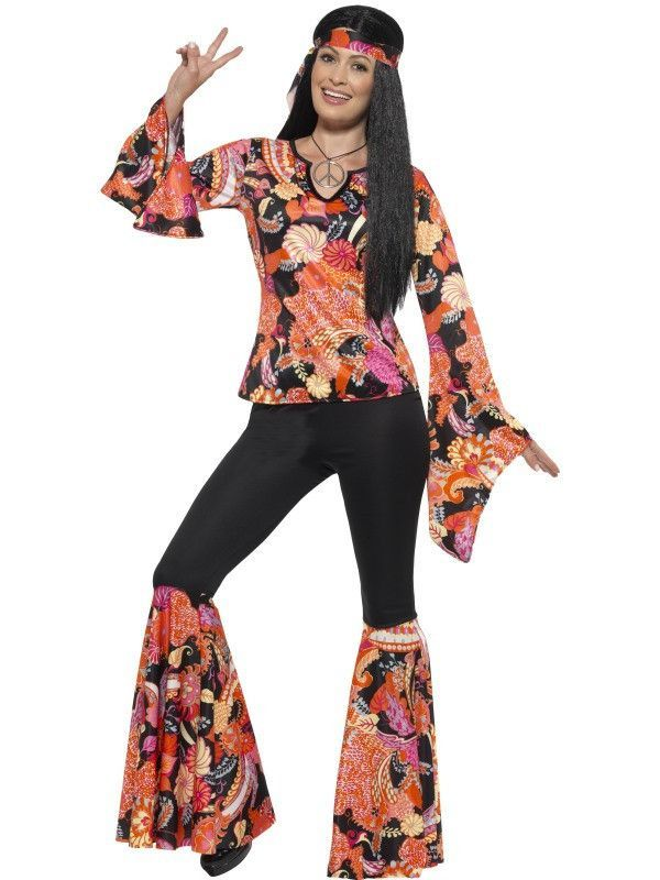 60/'s-70/'s Groovy Multi Color Print 2Pc Bell manches Costume Robe et foulard