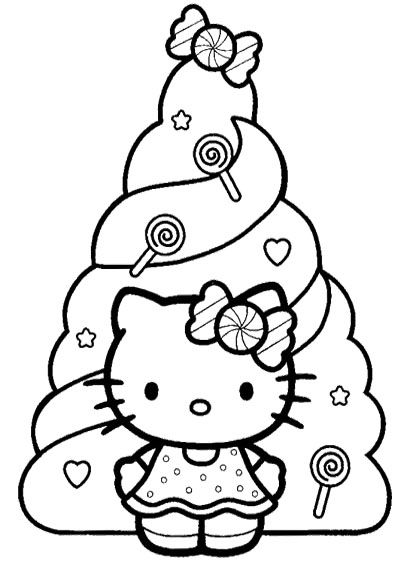 Hello Kitty And Christmas Tree Coloring Pages Christmas Coloring Pages Online Coloring Or P Hello Kitty Colouring Pages Hello Kitty Coloring Kitty Coloring