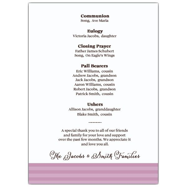 Memorial Service Programs Sample | SKU: 638 57FN 066  Funeral Announcement Sample