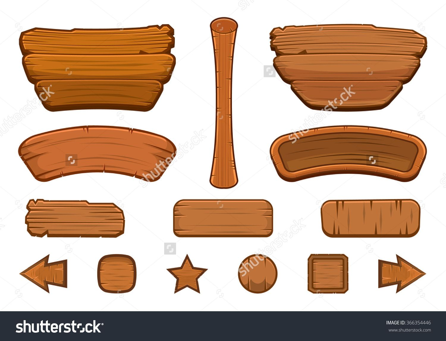 Set Of Cartoon Wooden Buttons With Different Shapes For Game User Interface Gui Gui Development Vector Illustration Wood Illustration Game Logo Game Design