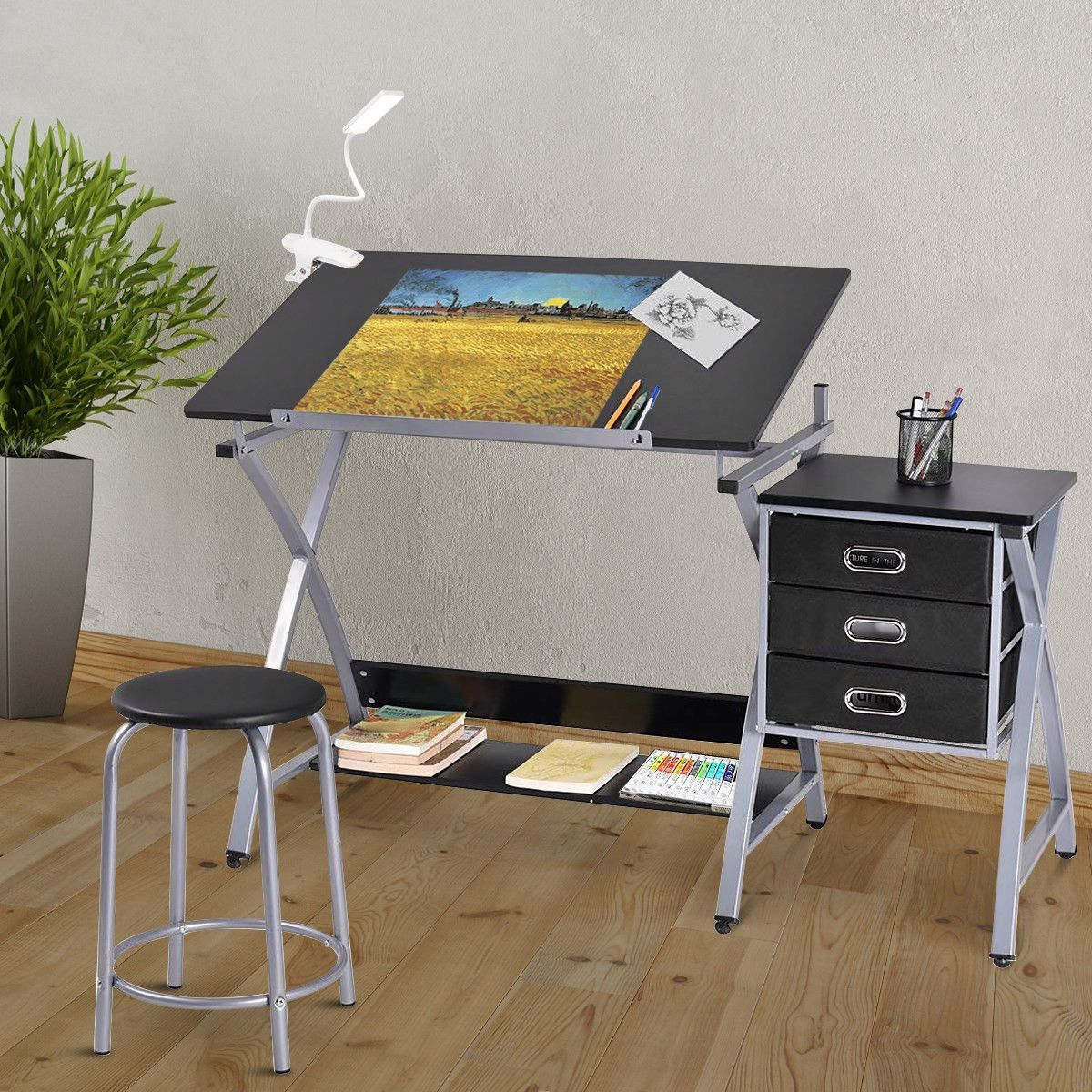 Adjustable Drafting Table Drawing Desk With Stools In 2020