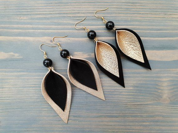 Photo of Black and Gold Earrings, Leather Leaf Earring, Leather Earrings, Boho Chic Earrings, Black Agate Earrings, Long Dangle Earrings Boho Jewelry
