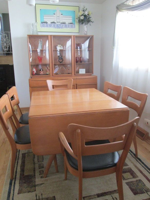 Heywood Wakefield Dining Table Chairs Hutch