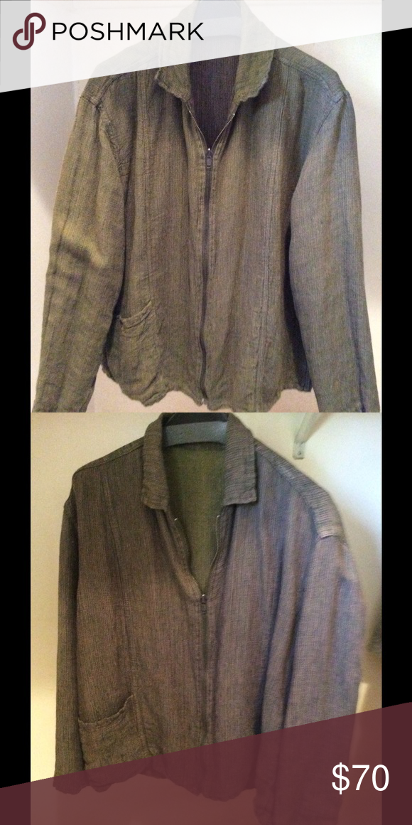 Flax Linen Reversible Jacket Reversible Linen zip front jacket. One patch pocket on each side. One side is olive green and the other is maroon/ purple. Runs large.  Good condition. FLAX Jackets & Coats