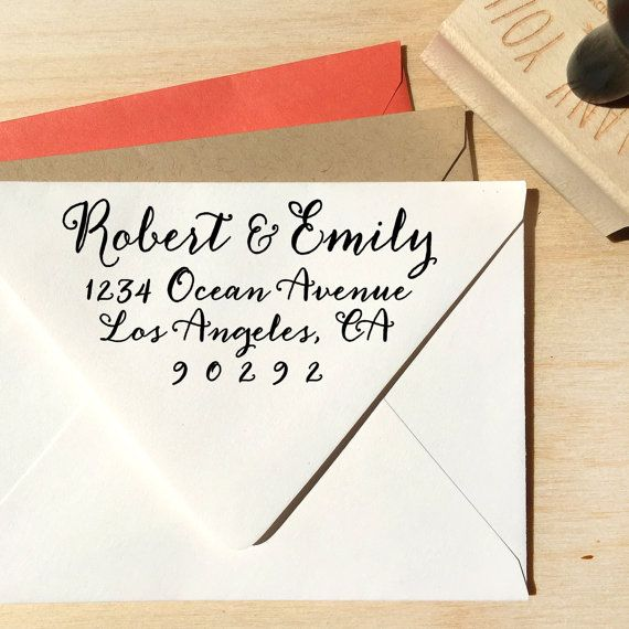 calligraphy return address stamp weddings save the by designkandy