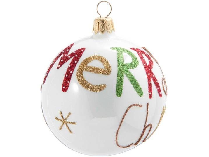 Weihnachtskugel aus Glas, weiß mit Druckmotiv #weihnachtsdekoimglasmitkugeln