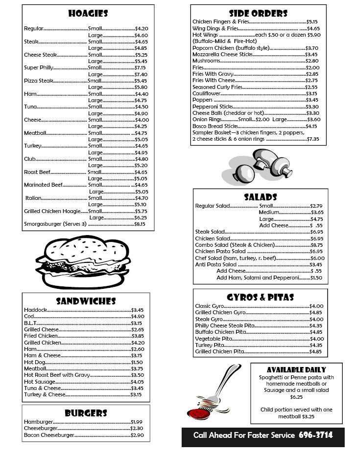 Box Lunch Menu Template print templates takeout menus