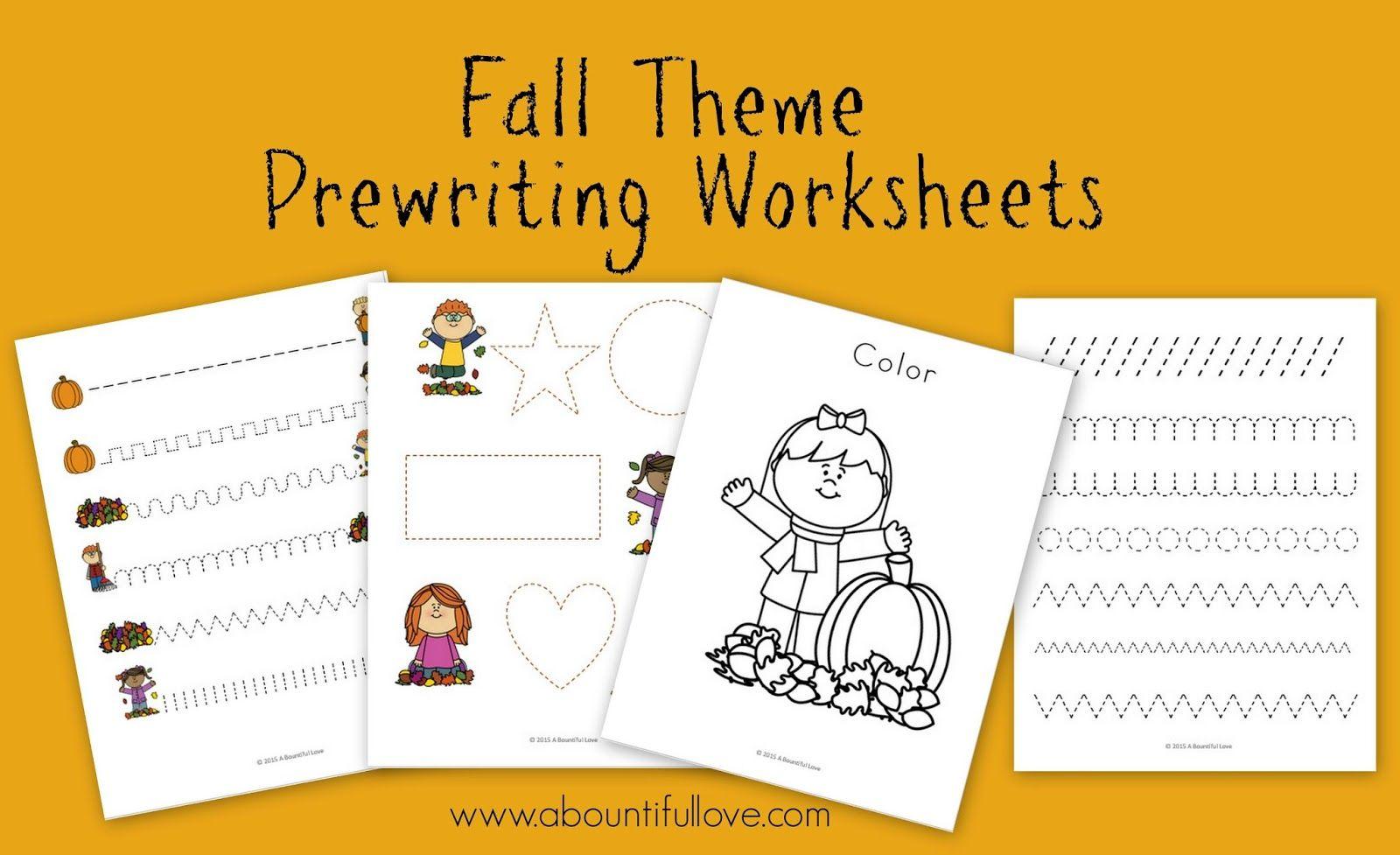 Fall Theme Pre Writing Sheets Free Printable
