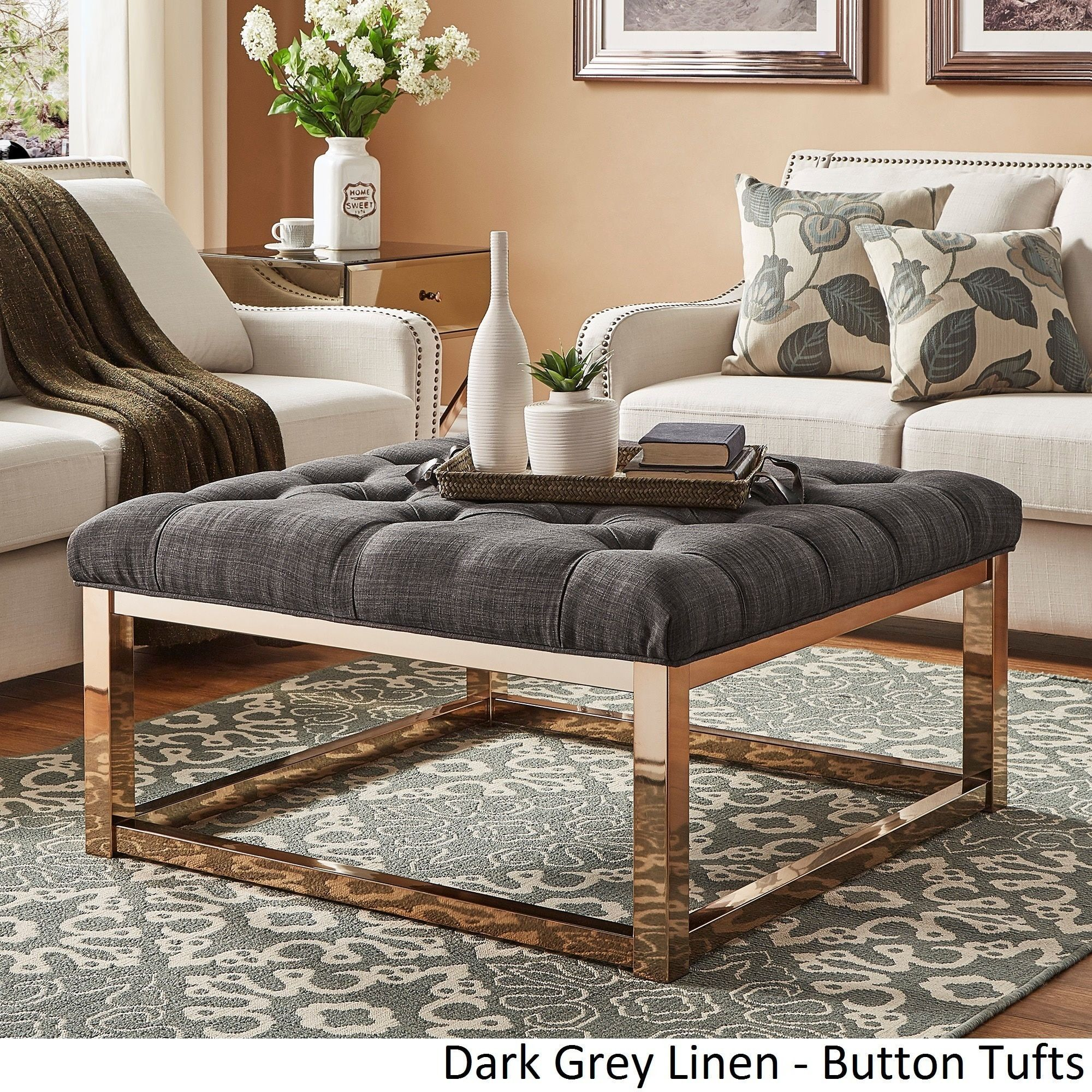 Solene Square Base Ottoman Coffee Table - Champagne Gold by Inspire ...