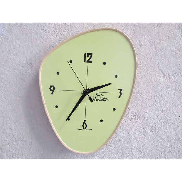 1950s Vintage French Yellow and Black VEDETTE Formica Wall Clock ...
