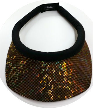 567bf428 Glitzy Iridescent Brim w/Black Band & Velcro Closure Sun Visor for Women