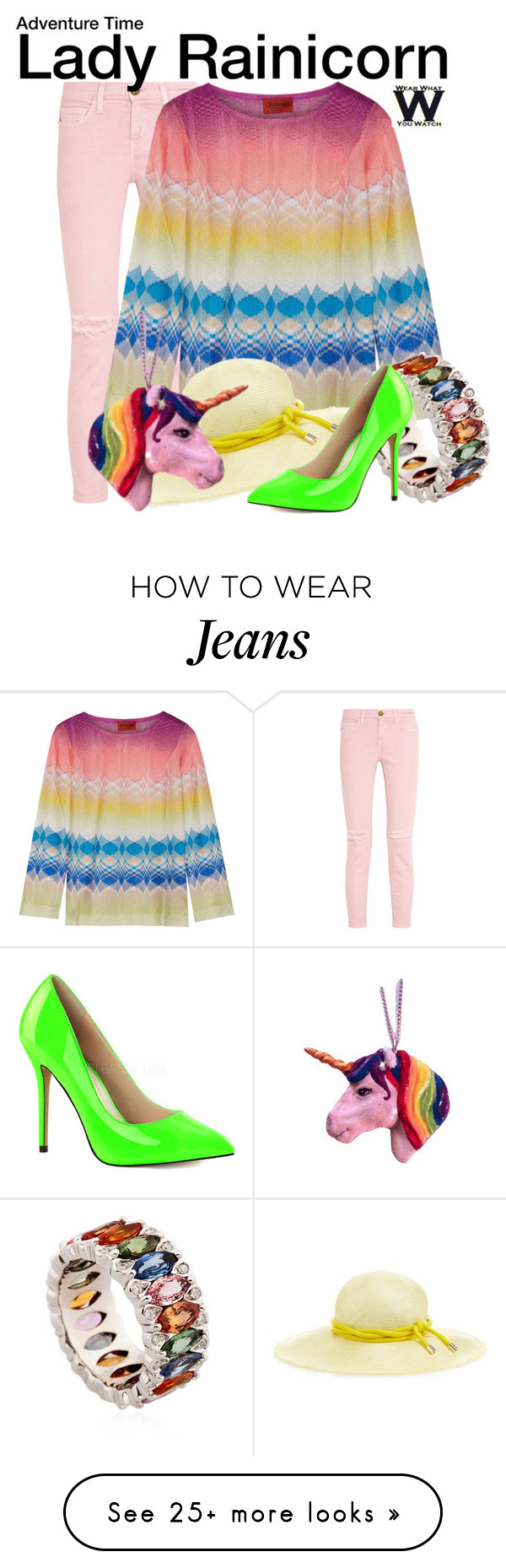 """""""Adventure Time"""" by wearwhatyouwatch on Polyvore featuring Current/Elliott, Missoni, Niquesa, Benoît Missolin, Pleaser, television and wearwhatyouwatch"""