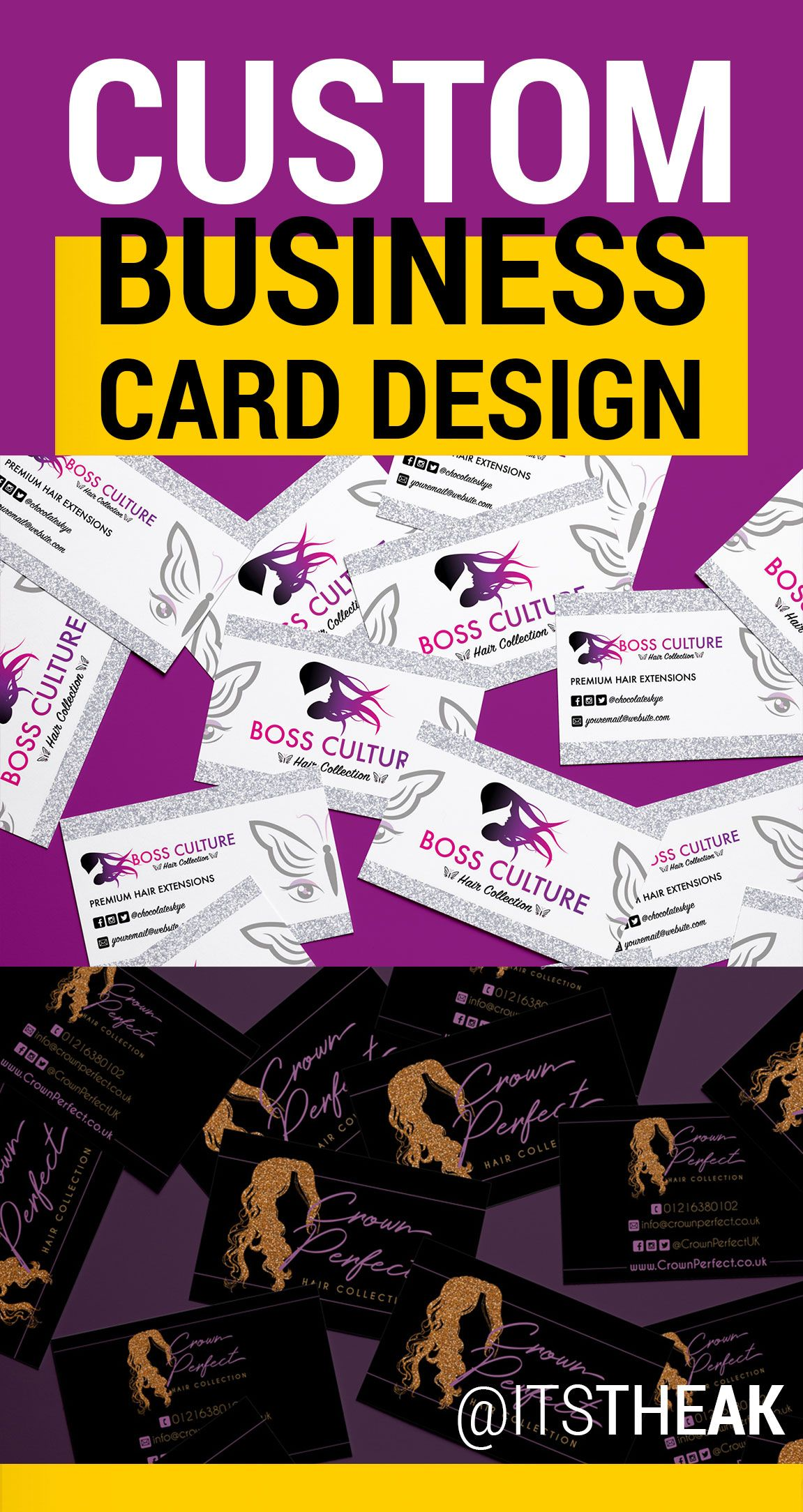 Need a Custom Business Cards Design for your Hair Extension Business ...