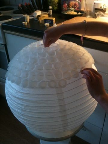 Lampshade. Glue small cupcake papers to the china lamp ;)