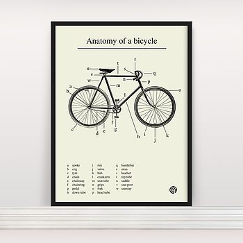 Anatomy Of A Bicycle Screen Print Anatomy Bicycling And Screens