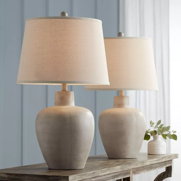 Regency Hill Rustic Country Cottage Table Lamps Set Of 2 Southwest Urn Neutral Fabric Drum Shade Living Room Bedroom Table Lamp Sets Lamp Bedside Night Stands