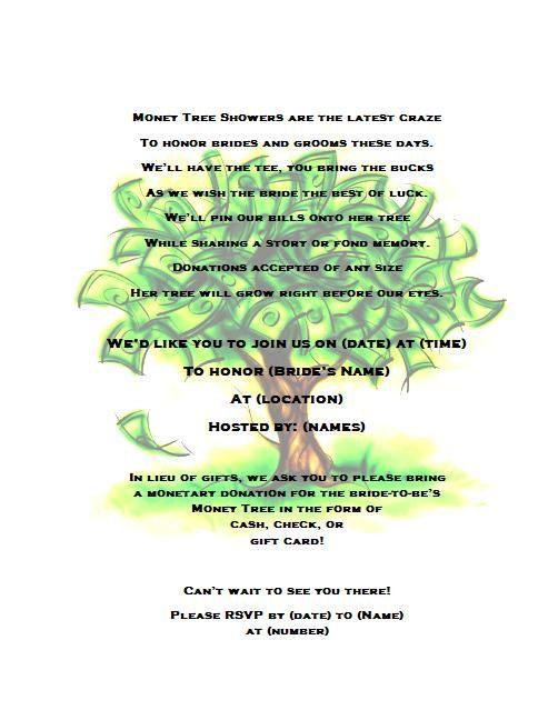 Money Tree Bridal Shower Invitation By Partychickie On Etsy 15 00 Bridal Shower Invitation Wording Wedding Shower Bridal Shower
