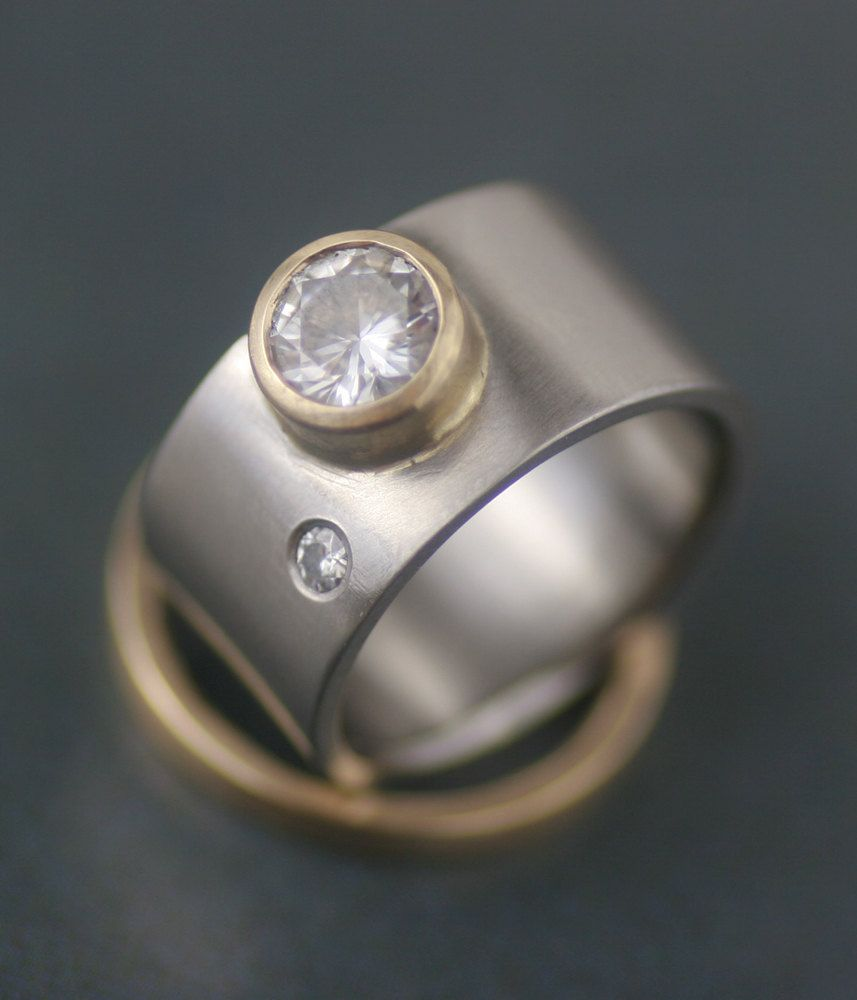 Modern Wide Band Engagment Ring Wedding Set Moissanite Moon In Gold And Palladium Eco Hers His