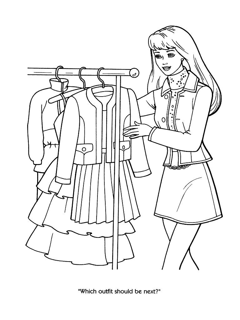 Barbie fashion coloring pages 52 my favorite things for Fashion barbie coloring pages