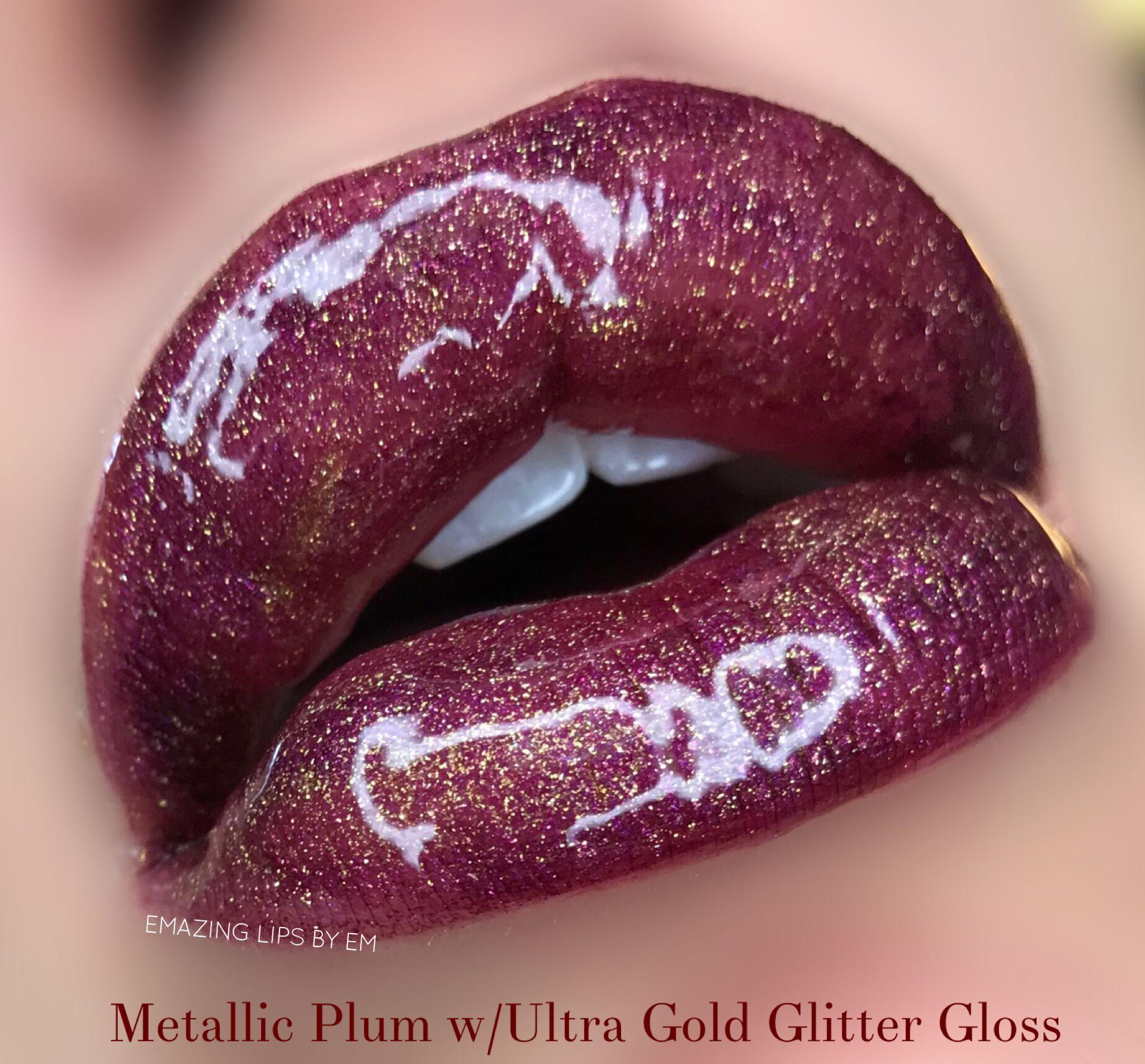 Metallic Plum Lipsense With Ultra Gold Glitter Gloss By Senegence