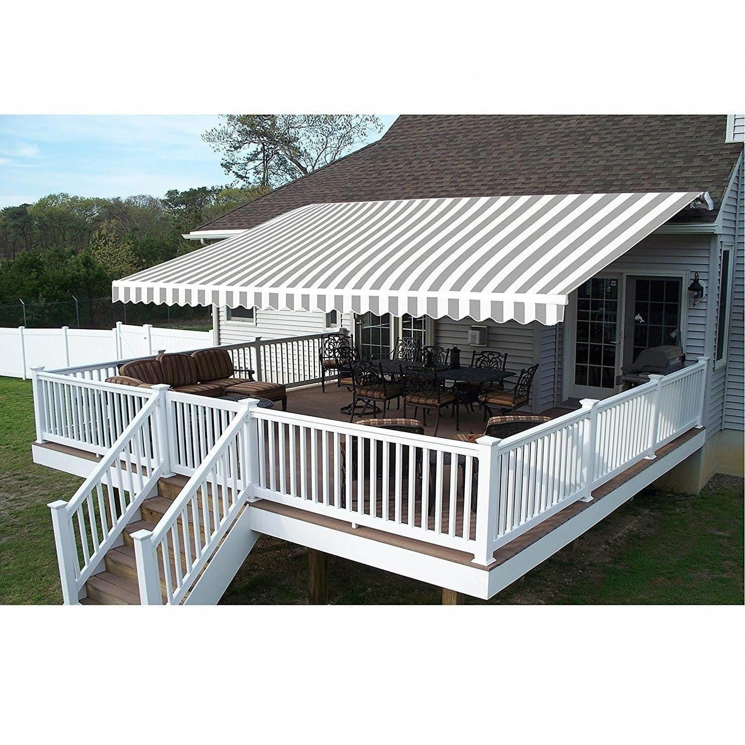 Aleko 12x10 Feet Retractable Outdoor Patio Awning Deck Sunshade Aw12x10greywht Ao Buildadeck Patio Design Patio Canopy Patio Awning