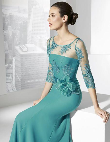 a3fdb835b6e5 Vestidos de fiesta largos con manga francesa en color esmeralda ...