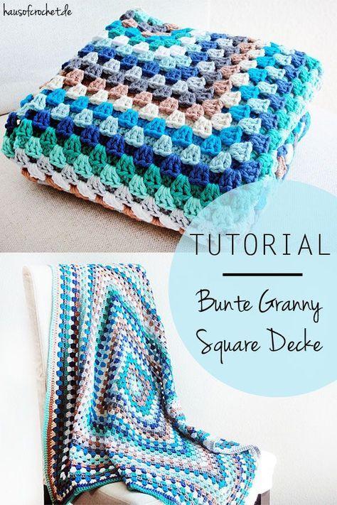 Tutorial: Bunte Granny Square Decke | Häkeln blog, Granny square ...