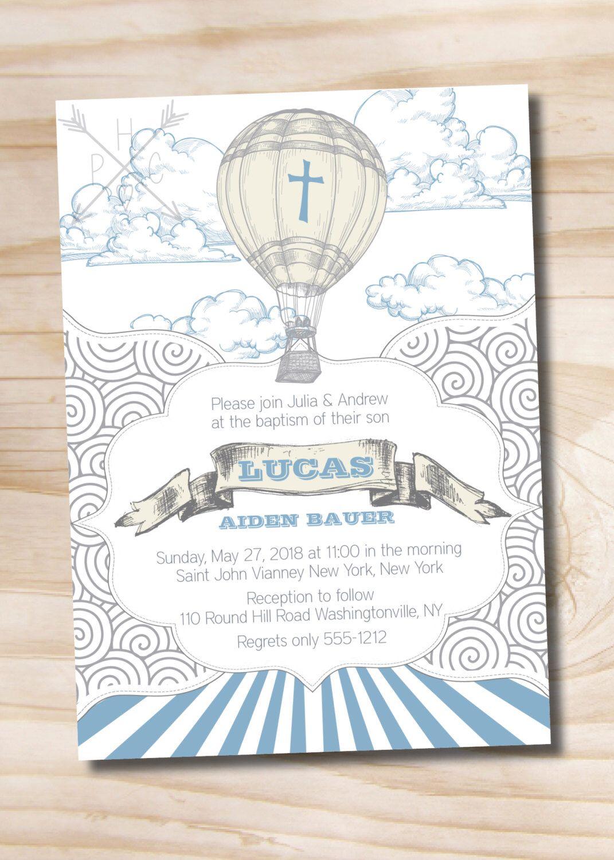 Up Up and Away, Hot Air Balloon Baptism Invitation - Printable ...