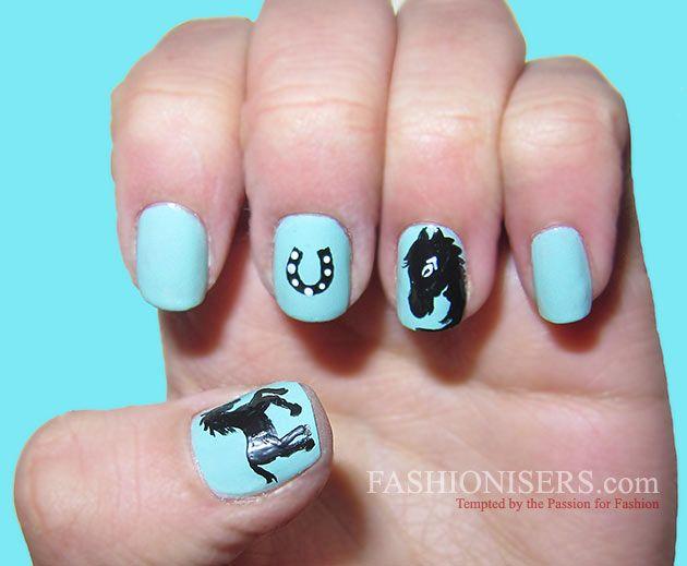 Cute Horse Nail Art Designs #HorseNailArt - Cute Horse Nail Art Designs Horse Nail Art, Horse Nails And Horse